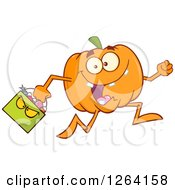 Clipart Of A Happy Pumpkin Character Running With A Trick Or Treat Halloween Candy Basket Royalty Free Vector Illustration