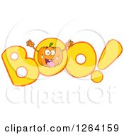 Clipart Of A Pumpkin Character Scaring In BOO Royalty Free Vector Illustration