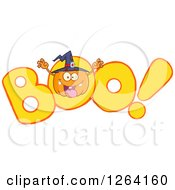 Clipart Of A Witch Pumpkin Character Scaring In BOO Royalty Free Vector Illustration