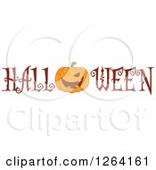 Clipart Of A Winking Pumpkin Character In Halloween Text Royalty Free Vector Illustration by Hit Toon
