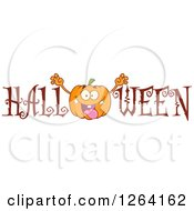 Clipart Of A Scaring Pumpkin Character In Halloween Text Royalty Free Vector Illustration