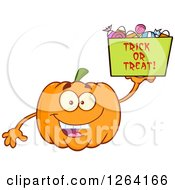 Clipart Of A Happy Pumpkin Character Holding Up A Trick Or Treat Halloween Candy Basket Royalty Free Vector Illustration