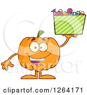 Clipart Of A Happy Pumpkin Character Holding Up Halloween Candy Royalty Free Vector Illustration