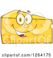 Clipart Of A Happy Cheese Wedge Character Royalty Free Vector Illustration by Hit Toon