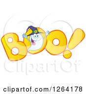 Clipart Of A Witch Ghost Over Boo Text Royalty Free Vector Illustration by Hit Toon
