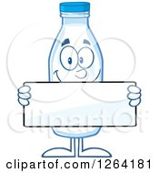 Clipart Of A Milk Bottle Character Holding A Blank Sign Royalty Free Vector Illustration by Hit Toon