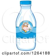 Clipart Of A Cow Label On A Milk Bottle Royalty Free Vector Illustration by Hit Toon