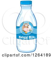 Clipart Of A Cow Label On A Natural Milk Bottle Royalty Free Vector Illustration by Hit Toon