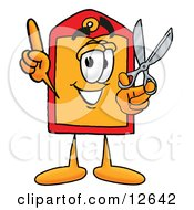 Price Tag Mascot Cartoon Character Holding A Pair Of Scissors