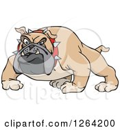 Clipart Of A Tough Curious Brown Bulldog Royalty Free Vector Illustration by Dennis Holmes Designs