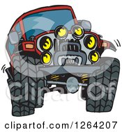 Clipart Of A Red Jeep Wrangler Vehicle Catching Air Royalty Free Vector Illustration by Dennis Holmes Designs