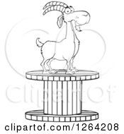 Clipart Of A Black And White Male Boer Goat Buck On A Giant Spool Royalty Free Vector Illustration by Hit Toon