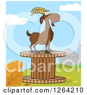 Clipart Of A Red Male Boer Goat Buck On A Giant Spool In A Barnyard Royalty Free Vector Illustration by Hit Toon