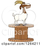 Clipart Of A Red And White Male Boer Goat Wether On A Giant Spool Royalty Free Vector Illustration
