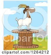 Clipart Of A Red And White Male Boer Goat Wether On A Giant Spool In A Barnyard Royalty Free Vector Illustration by Hit Toon