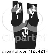 Clipart Of A Black And White Woodcut Prisoner Surrendering With Arms Raised Royalty Free Vector Illustration