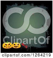 Clipart Of A Grungy Halloween Background With Spiders Webs And Jackolantern Pumpkins Royalty Free Vector Illustration