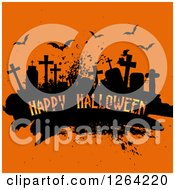Clipart Of A Grunge Cemetery Scene With Happy Halloween Text And Bats On Orange Royalty Free Vector Illustration by KJ Pargeter