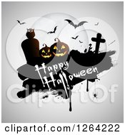 Clipart Of A Full Moon Owl Vampire Bats Tombstones And Pumpkins With Happy Halloween Text On Gray Royalty Free Vector Illustration