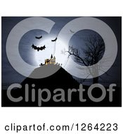 Clipart Of A Lit Up Haunted Halloween Mansion With Bampire Bats And A Full Moon Royalty Free Vector Illustration