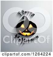 Clipart Of A 3d Jackolantern Pumpkin With Happy Halloween Text And Shadows On Gray Royalty Free Vector Illustration