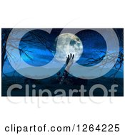 Clipart Of A 3d Rising Zombie Hand And Full Moon Royalty Free Illustration by KJ Pargeter