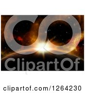 Clipart Of A 3d Sun Rising Over A Fictional Planet Royalty Free Illustration