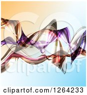 Clipart Of Colorful Waves On Gradient Royalty Free Vector Illustration by KJ Pargeter