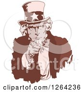 Clipart Of A Sepia Uncle Sam Pointing Outwards Royalty Free Vector Illustration