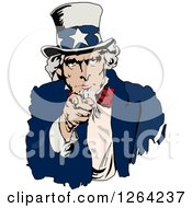 Clipart Of Uncle Sam Pointing Outwards Royalty Free Vector Illustration