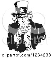 Clipart Of A Black And White Uncle Sam Pointing Outwards Royalty Free Vector Illustration