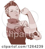 Clipart Of A Sepia Rosie The Riveter Flexing And Facing Right Royalty Free Vector Illustration by Dennis Holmes Designs
