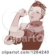 Clipart Of A Sepia Rosie The Riveter Flexing And Facing Left Royalty Free Vector Illustration