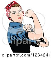 Clipart Of A Rosie The Riveter Flexing And Facing Right Royalty Free Vector Illustration by Dennis Holmes Designs