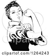 Clipart Of A Black And White Rosie The Riveter Flexing And Facing Right Royalty Free Vector Illustration by Dennis Holmes Designs #COLLC1264243-0087