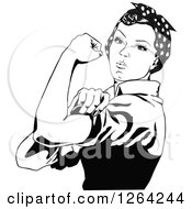 Clipart Of A Black And White Rosie The Riveter Flexing And Facing Left Royalty Free Vector Illustration