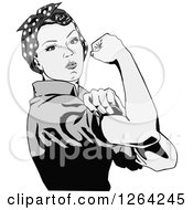 Clipart Of A Grayscale Rosie The Riveter Flexing And Facing Right Royalty Free Vector Illustration