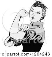 Clipart Of A Grayscale Rosie The Riveter Flexing And Facing Left Royalty Free Vector Illustration