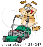 Clipart Of A Sparkey Dog Pushing A Green Lawn Mower Royalty Free Vector Illustration