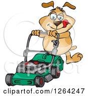 Sparkey Dog Pushing A Green Lawn Mower