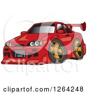Clipart Of A Red Nissan Skyline GT R Sports Car Royalty Free Vector Illustration