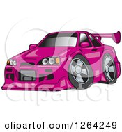 Clipart Of A Pink Nissan Skyline GT R Sports Car Royalty Free Vector Illustration