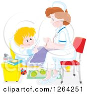 Clipart Of A Sick White Boy And Female Nurse Royalty Free Vector Illustration by Alex Bannykh