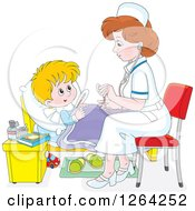 Clipart Of A Sick Caucasian Boy And Female Nurse Royalty Free Vector Illustration