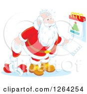 Clipart Of Santa Clause Revealing Christmas Day On A Calendar Royalty Free Vector Illustration