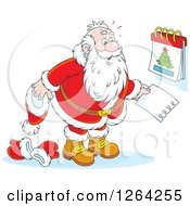 Clipart Of Santa Revealing Christmas Day On A Calendar Royalty Free Vector Illustration by Alex Bannykh