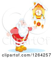 Clipart Of Santa Clause Adjusting A Cuckoo Clock Royalty Free Vector Illustration by Alex Bannykh