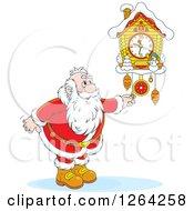 Clipart Of Santa Adjusting A Cuckoo Clock Royalty Free Vector Illustration by Alex Bannykh