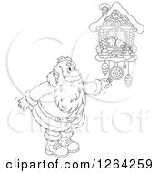 Clipart Of A Black And White Santa Clause Adjusting A Cuckoo Clock Royalty Free Vector Illustration by Alex Bannykh