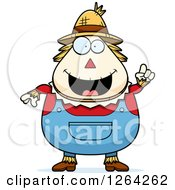 Clipart Of A Happy Cartoon Chubby Scarecrow With An Idea Royalty Free Vector Illustration